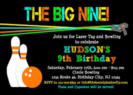 tag bowling invitation laser tag birthday party invitation kids