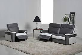 ensemble canapé fauteuil fauteuil relax electrique idaho luba gris fonce pu blanc 8815