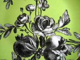 green roses black and white toile on green roses fruit rosanna plate b