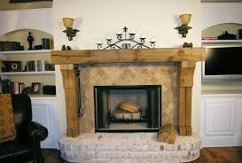 rustic accents home decor interior rustic solid wood fireplace mantel with stone tile