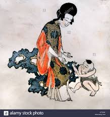 beauty with child qing dynasty ca 1644 u20131753 culture woodblock