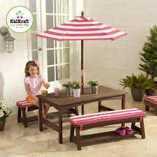 Pink Outdoor Furniture by Kidkraft Outdoor Table U0026 Bench Set With Umbrella Turquoise