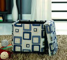 fabric modern square storage ottoman w wood legs