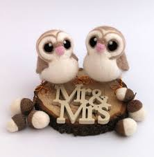 wedding cake toppers and groom and groom barn owl wedding cake topper