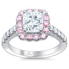 Pink Diamond Wedding Ring by Pink Sapphire Cushion Halo Engagement Ring