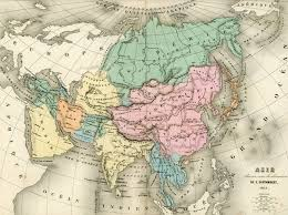 africa e asia mappa pastel colors map of asia vintage map print