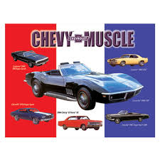 Chevy Muscle Cars - chevy muscle car assortment metal sign chevrolet gm automotive