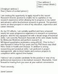 best ideas of cover letter examples for science research for
