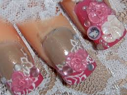 rosy laces w hello kitty 3d acrylic nail art design tutorial