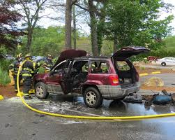 video jeep bursts into flames in south dennis