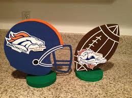 football theme centerpieces denver broncos colors hand painted