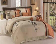 asian comforter set 7pc rust taupe black bamboo