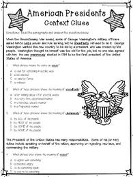 context clues worksheets american presidents by deb hanson tpt