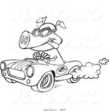Vector Of A Cartoon Pig Racing A Rod Black And White Outline