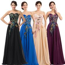 grace karin peacock formal evening gown prom party lady chiffon