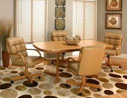 Dining Room Chairs With Casters And Arms Dining Chairs On Casters This Looks Kind Of Cozy The Table Not