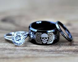skull wedding ring sets skull wedding ring etsy