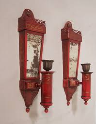Tin Wall Sconce 7871 Pair Tin Candle Wall Sconces By Caldwell C1910 For Sale