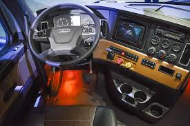 freightliner cascadia warning lights truck manufacturers woo customers with driver centric interior designs
