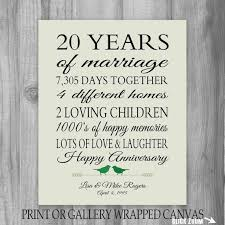 20 years anniversary gifts 20th anniversary gift 20 year anniversary gift canvas print