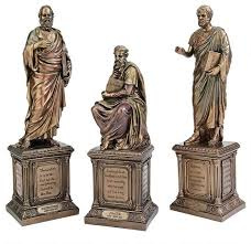 bronze finish greek plato socrates aristotle statues
