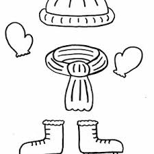 warm clothes for childrens in winter season coloring page