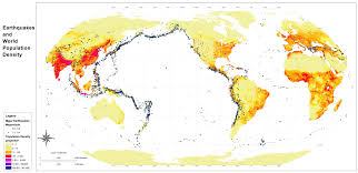 World Wall Map by World Population Density And Major Earthquakes Wall Map Maps Com