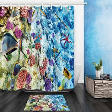 Shower Curtains With Fish Theme Tropical Fish Theme Waterproof Fabric Home Decor Shower Curtain