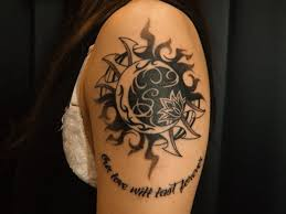awesome moon and sun with flower on shoulder tattooimages