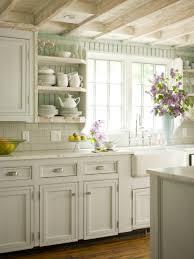 kitchen open shelves clock pendant lamp plates cups sink faucet