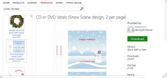 free winter templates for microsoft office winter cd or dvd label
