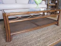 Rectangular Coffee Table With Glass Top Rectangle Brown Rattan Coffee Table With Glass Top And Four Legs