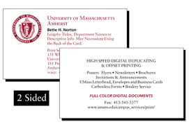 Business Cards 2 Sided Umass Amherst Print Services Products Business Cards
