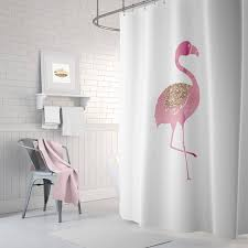 Flamingo Shower Curtains Flamingo Shower Curtain Pink Bathroom Decor Rose Gold Long