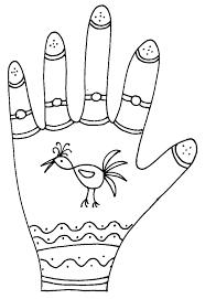 Imprimer le coloriage graphique de la main oiseau  Tête à modeler