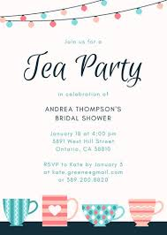 party invitation tea party invitation green leaves bridal tea party invitation tea