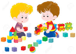 little boys play with a toy train and bricks royalty free cliparts