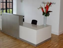 Reception Desk Uk Bespoke Reception Desks White Lacquer Silver Laminate