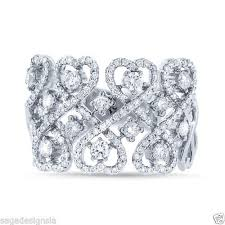 diamond cocktail rings 0 97 ct 14k white gold heart lace diamond cocktail ring wide