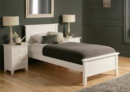 White Leather Single Bed New England Solo Wooden Bed Frame Painted Wood Wooden Beds Beds