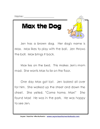 reading comprehension worksheets for second grade worksheets