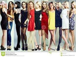 fashion collage group of beautiful young women stock photo