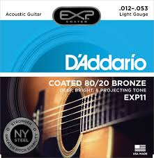 light electric guitar strings d addario exp16 coated phosphor bronze acoustic guitar strings light