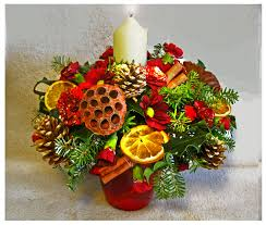 interior flowers holly and moss for christmas decoration