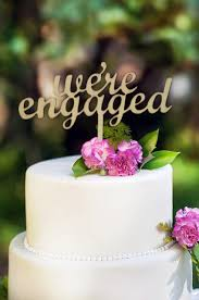 engaged or we re engaged cake topper made of wood not paper