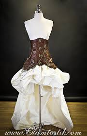 burlesque wedding dresses custom size brown and ivory steunk burlesque bust
