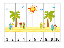 at the beach themed number sequence puzzle numbers 1 10