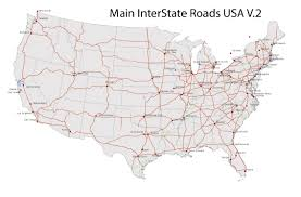 Vector World Map Us Road Map Road Map Of Usa Download Usa Map Roads Major Tourist