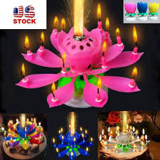 spinning birthday candle us stock musical lotus flower rotating happy birthday candle w 14