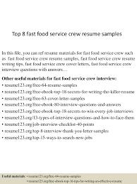 Food Server Job Description For Resume by Fast Food Resume Virtren Com